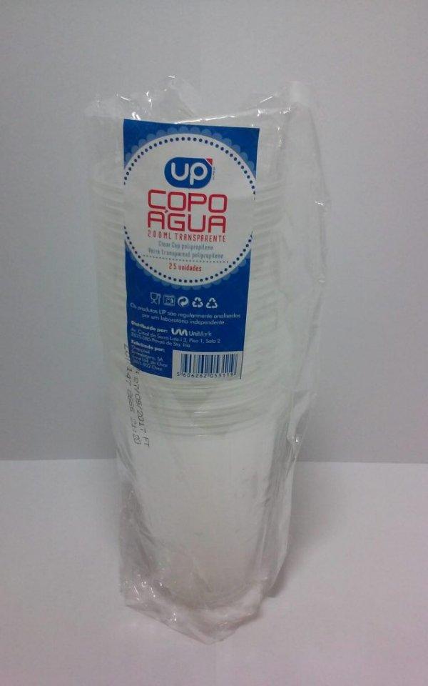 Copo de água de plástico