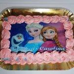 Bolo Com Olav E Princesas (filme Do Frozen) Vista De Cima