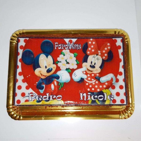 Bolo Com Foto Montagem De Minnie E Mickey Vista De Cima