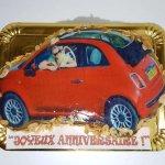 Bolo Do Fiat 500 Vermelho Vista De Cima