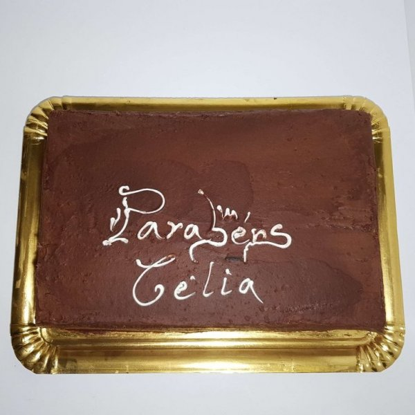 Bolo Simples De Chocolate Com Dedicatória Vista De Cima