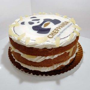 Naked Cake Com Logótipo De Empresa Vista Em Perspetiva
