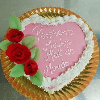 Bolo Melhor Mãe Do Mundo Com Rosas