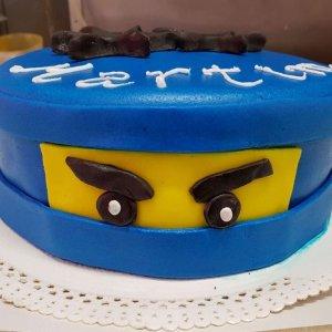 Bolo Com Cara De Ninja Azul Lego