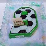 Bolo De 9 Anos Com Padrão De Bola De Futebol
