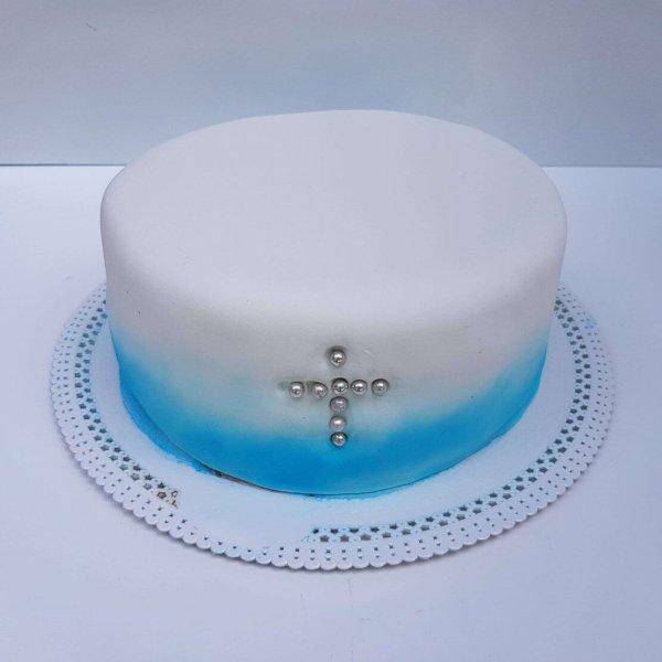 Bolo Azul E Branco Com Cruz