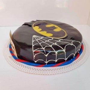 Bolo Redondo Do Batman Com Capa E Teia