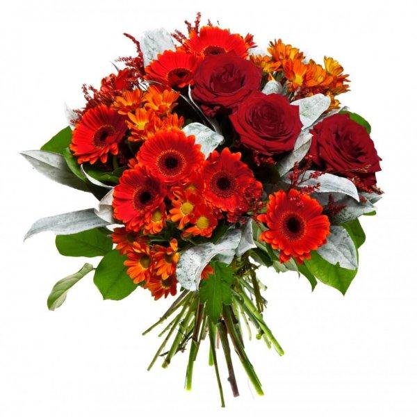 Buque De Rosas Gerberas Vermelhas E Laranjas