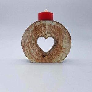 Castiçal De Madeira Com Coração