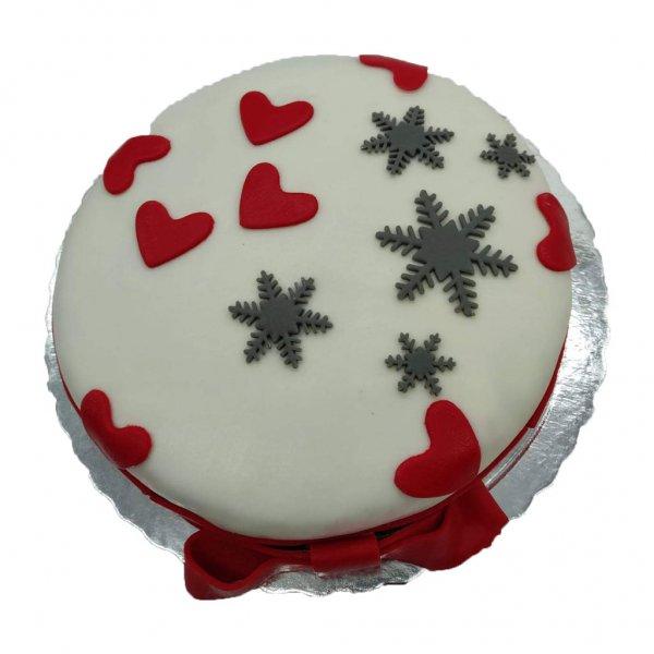 Bolo Romantico Com Corações E Flocos De Neve