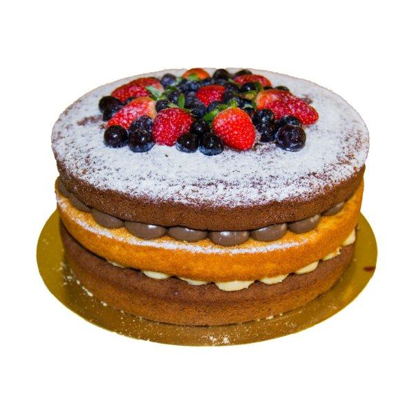 Naked Cake Chocolate E Chocolate Branco Com Frutos Vermelhos