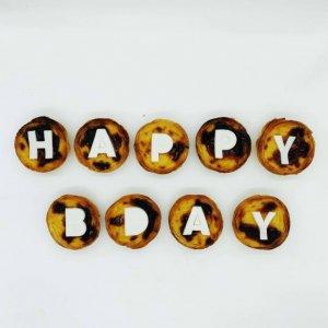 Mensagem De Aniversário Happy Bday Em Pastéis De Nata
