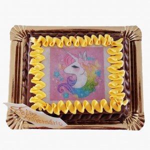 Bolo Com Fotografia Unicornio Com Chantilly