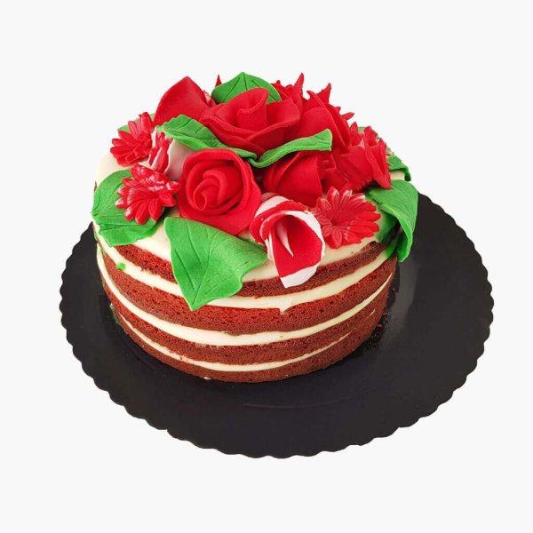 Naked Cake Com Flores No Topo Red Velvet