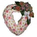 Coração De Flores Brancas E Rosas Para Velório De Senhora