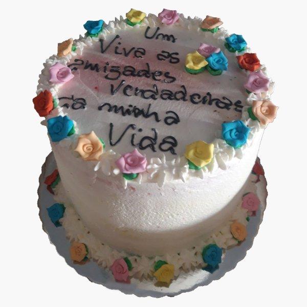 Drip Cake Branco Com Flores