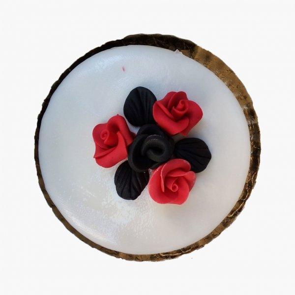 Bolo Com Flores Vermelho E Preto