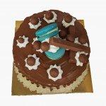 Drip Cake Com Chocolate E Macarons Azul